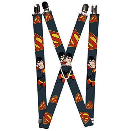 Buckle-Down Suspenders-Superman Action Pose/Scattered Shield Navy/Gold