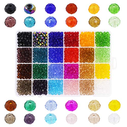 Decorative Glass Beads 6mm Faceted Briolette Rondelle Crystal Beads 1200pcs 24 Colors with a Container for Bracelet Making DIY Craft - Faceted Glass Crystal Beads