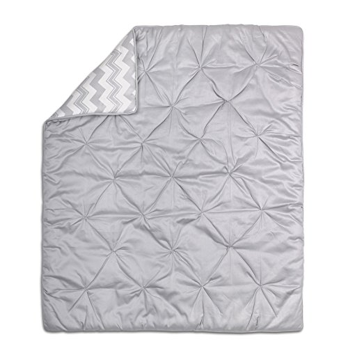 Grey Pintucked and Chevron Reversible Baby Crib Quilt by The