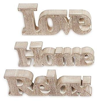 3er Set Schriftzug Aus Holz Love Home Relax