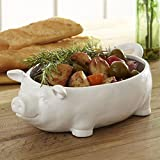 """Lucky Pig Ceramic Serving Bowl By Birch Lane White 3.88"""" H X 12.5"""" W X 7.63"""" D offers"""