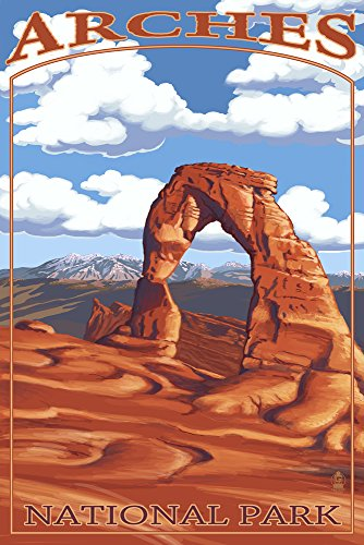 Arches National Park, Utah - Delicate Arch - Day Scene (9x12 Art Print, Wall Decor Travel Poster)