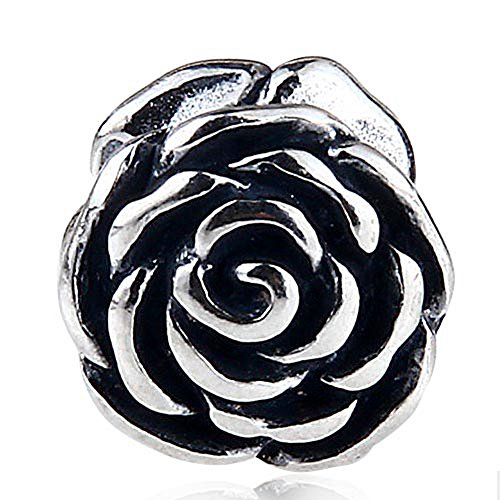 Rose Charm 925 Sterling Silver Flower Beads Charm fit for DIY Charms (Silver Rose Flower Charm)