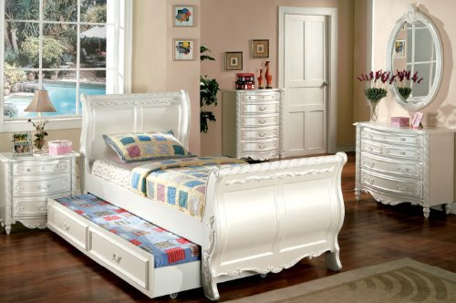 Inland Empire Furniture Alexandra Pearl White Solid Wood Sleigh Bed with Trundle Bed Twin (Pearl Twin Sleigh)