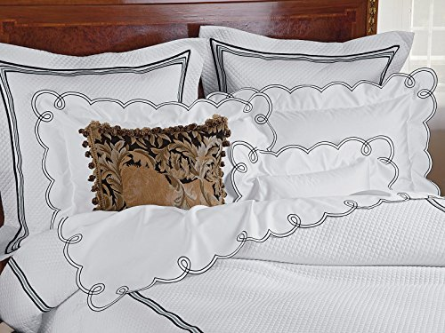 Schweitzer Linen Crme FraÃche Shams (Quilted), Black (King, Each) ()
