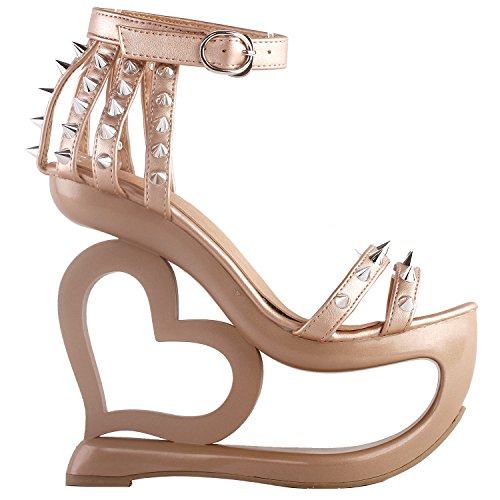 Show Story Punk Black Spikes Strappy Heart Heel Wedge Evening Sandals,LF40204 Peachy Beige