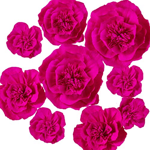 Ling's moment Giant Crepe Paper Flower, 9 X Fuchsia Handmade Large Paper Flower, Paper Flower Decorations for Nursery, Wall, Wedding, Anniversery, Bridal Shower, Archway, Centerpiece