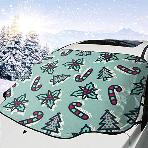 LFCLOSET Christmas Candy Cane and Tree Pattern Universal Car Front Windshield Sunshade for SUV Trucks Minivan