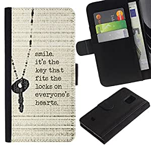 Billetera de Cuero Caso Titular de la tarjeta Carcasa Funda para Samsung Galaxy S5 Mini, SM-G800, NOT S5 REGULAR! / Smile Key Heart Quote Inspiring Motivational / STRONG