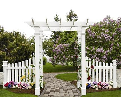 New England Fairfield Arbor with Trim and Wings (Fence Picket Wings)