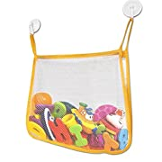 Bright Yellow Bath Toy Organizer – Large Mesh Baby Bath Toy Net with 2 Flip Down Suction Cups For Smooth Surfaces - Bath Toy Storage