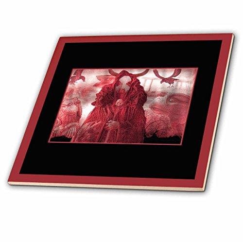 Gargoyle Master - 3dRose ct_22323_6 DEMON MASTER Demon Demonic Skull Master Dark Gargoyles Crows Fantasy DarkFantasy Glass Tile, 6-Inch