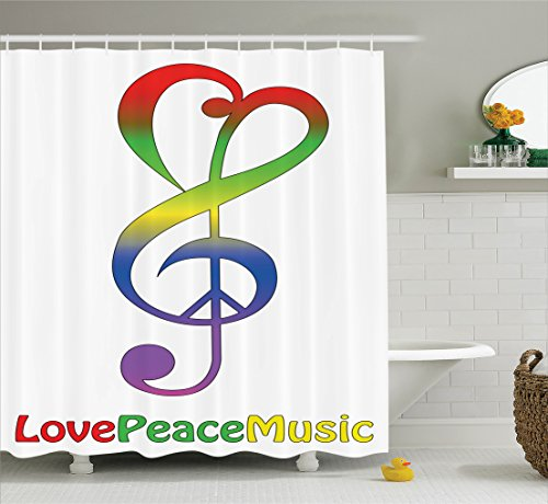 Ambesonne 1960s Decorations Collection, Love Peace and Music Clef Musical Notes Bass Old Sign Slogan Live Feeling Celebration Image, Polyester Fabric Bathroom Shower Curtain, 84 Inches Extra Long, Red