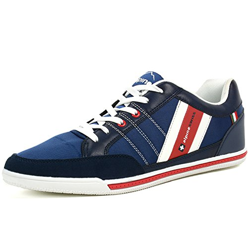 Casual Stripe Sneakers (alpine swiss Mens Stefan Navy Suede Trim Retro Fashion Sneakers 12 M US)