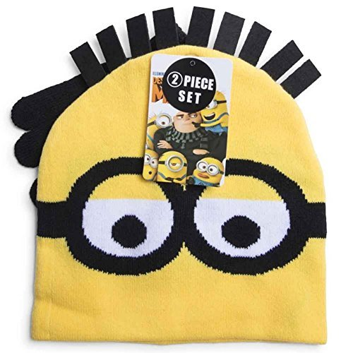 Despicable Me 3 Minions 2 Piece Hat and Gloves Set Kids -