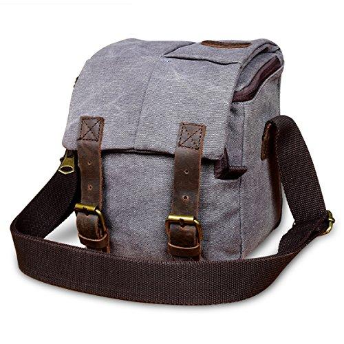 Vintage Waterproof Canvas Leather Trim DSLR SLR Shockproof Camera Shoulder Messenger Bag RUN ANT