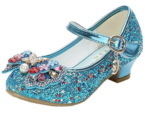 Vokamara Mädchen Schuhe mit Absatz Glitzer Mary Jane Pump Blau