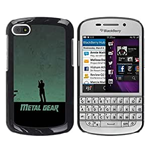 // PHONE CASE GIFT // Duro Estuche protector PC Cáscara Plástico Carcasa Funda Hard Protective Case for BlackBerry Q10 / Metal Gear /