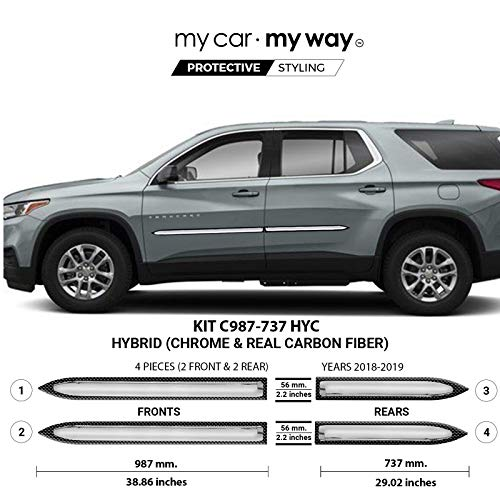 MY CAR MY WAY (Fits) Chevrolet Traverse 2018-2019 Hybrid Body Side Molding Cover Trim Door Protector