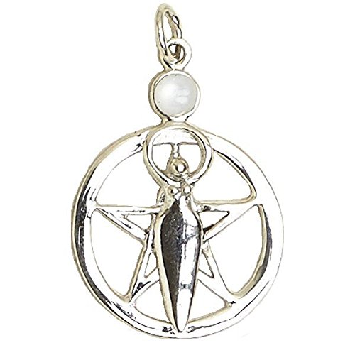 Pentacle of the Goddess Inlaid with Mother of Pearl Wiccan Designs Sterling Silver .925 Pendant - Mother Of Pearl Goddess Pendant