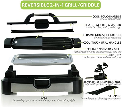 Ovente GR2001B Reversible Griddle with Heat Tempered Glass Lid, Indoor and Electric-Contact-Grills For Sale