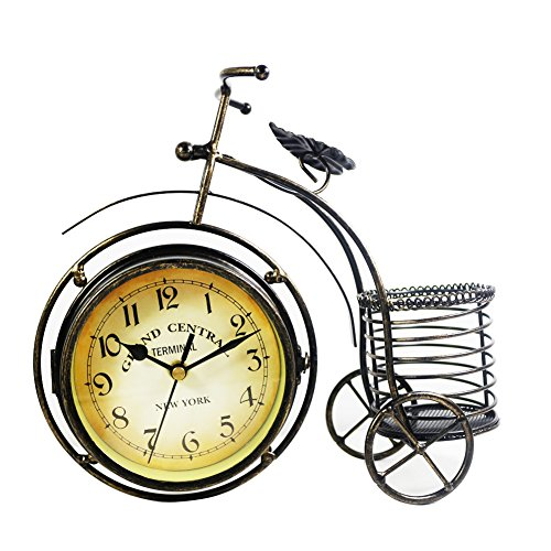 KiaoTime Retro Vintage Double Sided Bronze Metal Bicycle Clock Antique Look Bike Clock Non-Ticking Desk Table Bookcase Shelf Clock ()