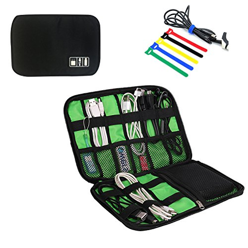 Travel Universal Cable Organizer Electronics Accessories Cases for Various USB, Phone, Charger and Cable, Black by zhenrong (Image #7)