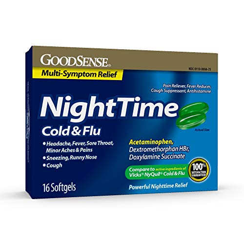 Good Sense Nighttime Cold & Flu Softgels, Relieves Aches & Pains Related to Cold & Flu