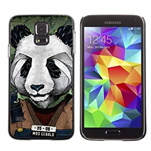 Licase Hard Protective Case Skin Cover for Samsung Galaxy S5 - Cool Panda Mug Shot Art