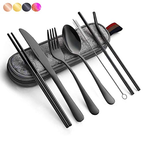 Black Travel flatware set with Case Stainless Steel silverware Tableware Set,Include Knife/Fork/Spoon/Straw (Portable…