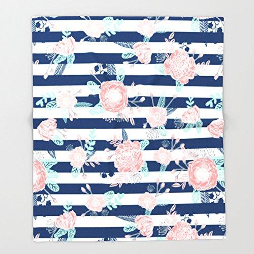 Society6 Florals bouquet navy stripe modern classic pattern print nautical preppy chic kids children college Throw Blankets 68'' x 80'' Blanket