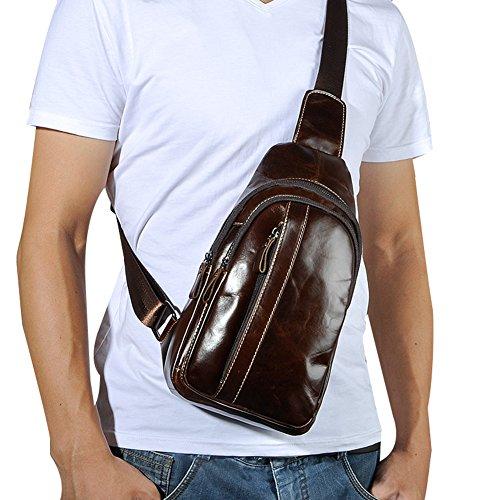 Genda 2Archer Vintage Leder Schultertasche Reise Brust Tasche