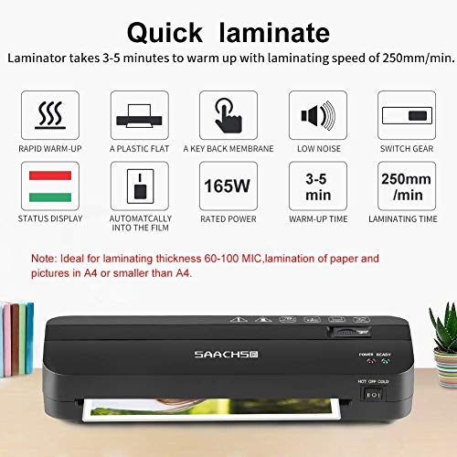 Large Product Image of Thermal Laminator, Laminating Machine with 225mm Max Width Fast Warm Up & Quick Laminating Speed Laminator