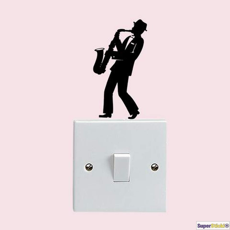 SUPERSTICKI Wandtattoo Steckdose Lichtschalter Saxophon Musik Deko Hobby Dekoration Home Basteln aus Hochleistungsfolie Aufkleber Autoaufkleber Tuningaufkleber Hochleistungsfolie f/ür al