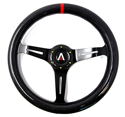 Tanaka 350mm 6 Bolt real Carbon Fiber Steering Wheel Universal with Gold Bolt (Black)