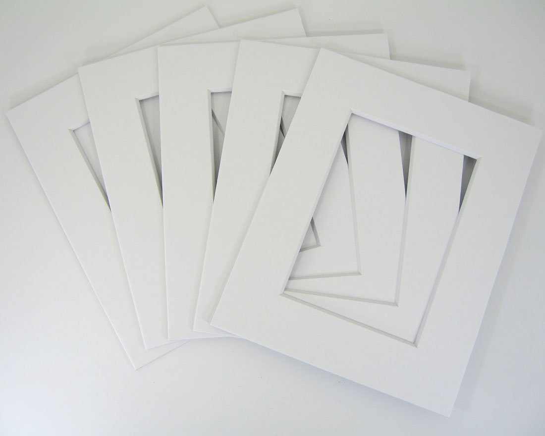50 set of White 12x16 Photo Mats for 8x12 + backing + bags by Golden State Art