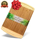 ♻ EXTRA LARGE BAMBOO cutting board with drip juice groove - ORGANIC and ANTIMICROBIAL durable thick wood chopping board - Fine wood