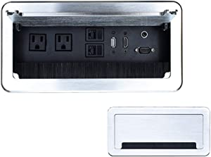 Tabletop Bursh Connectivity Box Outlet with Socket HDMI LAN VGA Power for Desktop Conference(Silver)