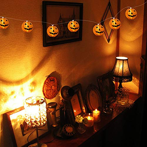 WmBetter Pumpkin String Lights Detachable Polyester Halloween Pumpkin Lanterns with 10 LED lights for Halloween Decoration by Wmbetter (Image #7)