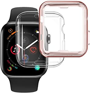 [2-Pack] NotoCity Compatible Apple Watch Case Series 6/Series 5 40mm Screen Protector, Overall Protective Soft Case TPU HD Clear Ultra-Thin Cover Compatible Apple Watch Series 6/5/4(Rose Gold 40mm)