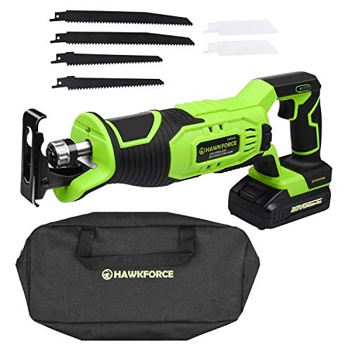 HAWKFORCE 20V Lithium Ion Cordless Reciprocating Saw Kit Variable Speed
