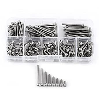 160pcs M3 SS304 Stainless Steel Metric Thread Hex Socket Cap Head Screws Bolts Hex Socket Cap Head Screw Set Bolts