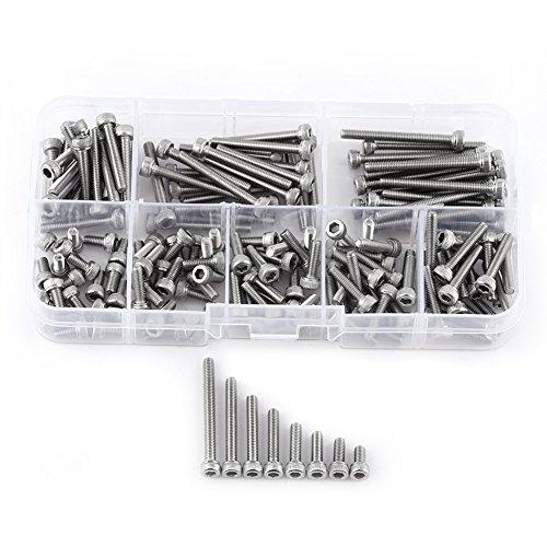 (160pcs 304 Stainless Steel Metric Thread Hex Socket Cap Head Screws Bolts with Storage Box, M3 x 6/8/10/12/16/20/25/30mm)