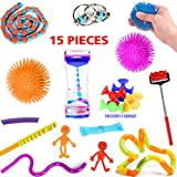 Mr. E=mc2 15 Piece Fidget Toys for Sensory Kids by Sensory Processing Disorder Kinesthetic Therapy | Textured, Tactile ADHD and Autism Toys | Perfect for Office Stress Relief, Travel Toys for Kids