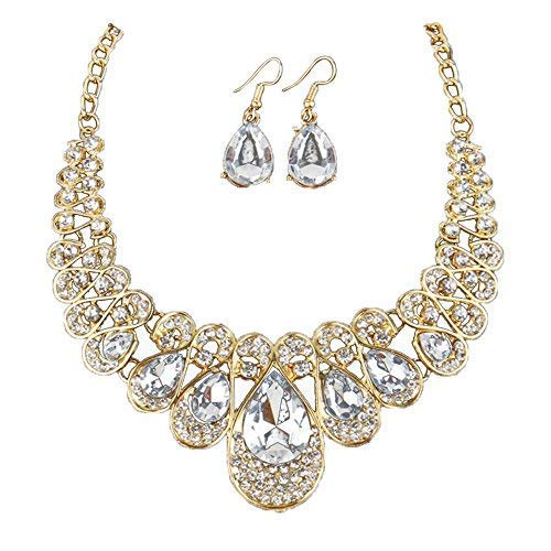 (Gbell Girls Women Fashion Crystal Necklace Earrings Jewelry Pendant Gifts Set,Lady Neck Chain Choker Charm,Ideal for Wedding,Party,Engagement,45 + 5cm)