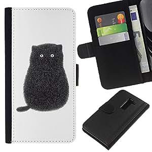 EJOY---La carpeta del tirón la caja de cuero de alta calidad de la PU Caso protector / LG G2 D800 / --Gatito del gato negro de dibujos animados Blanco Minimalista