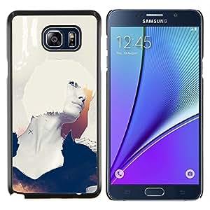 YiPhone /// Prima de resorte delgada de la cubierta del caso de Shell Armor - Retrato Mujer Blanca Cabello Perfil Arte Sexy - Samsung Galaxy Note 5 5th N9200