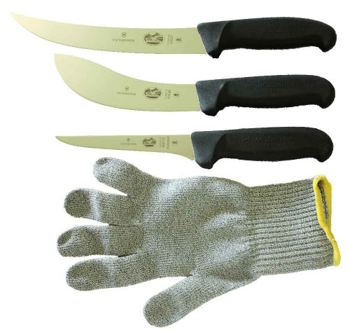 Forschner-Victorinox 5 Inch Boning Knife, 8 Inch Breaking Knife, 6 Inch Skinning Knife & MEDIUM Polar Bear Cut Resistant Glove ()