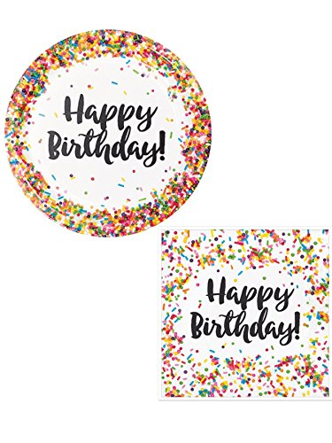 Plates Dessert Birthday Party - Happy Birthday Confetti Bundle: 16 Confetti Dinner Plates +16 Sprinkle Lunch Napkins
