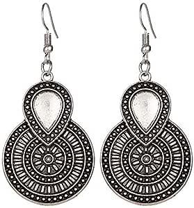Vintage Silver Color Drop Earring - ZURI